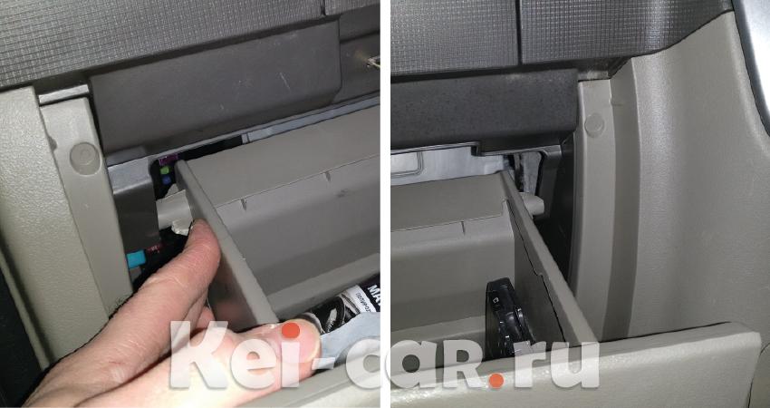 снимаем перчаточный ящик Daihatsu Tanto