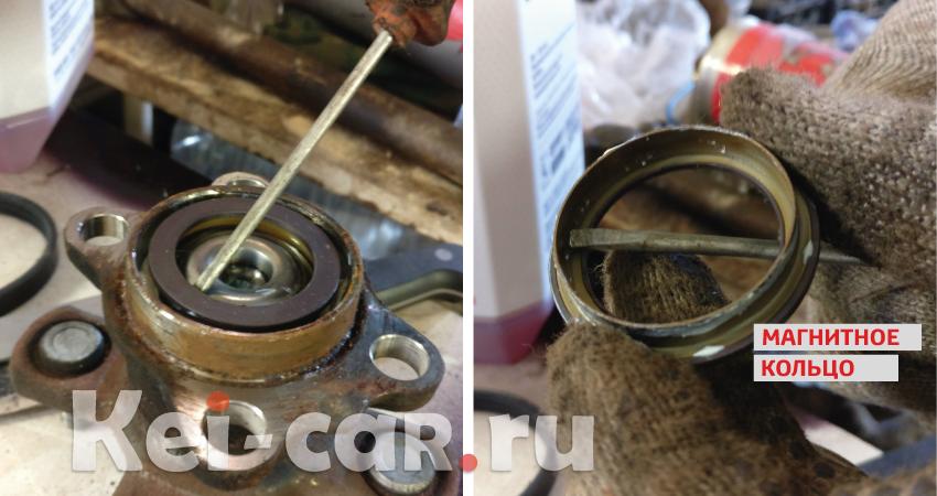 демонтируем магнитное кольцо датчика абс